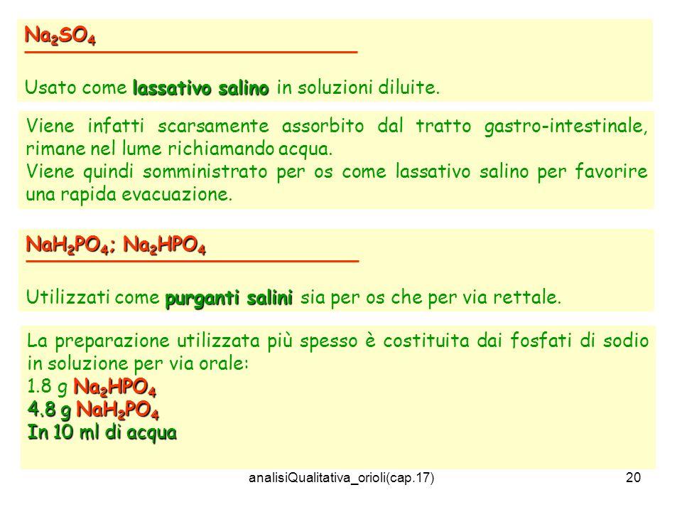 analisiQualitativa_orioli(cap.17)20 Na 2 SO 4 lassativo salino Usato come lassativo salino in soluzioni diluite. Viene infatti scarsamente assorbito d