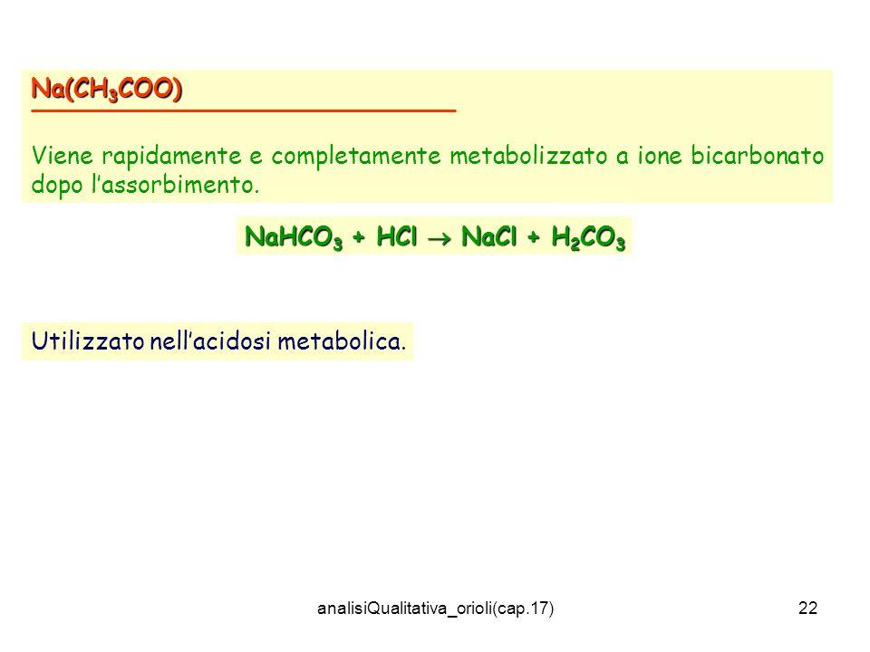 analisiQualitativa_orioli(cap.17)22 Na(CH 3 COO) Viene rapidamente e completamente metabolizzato a ione bicarbonato dopo lassorbimento. NaHCO 3 + HCl