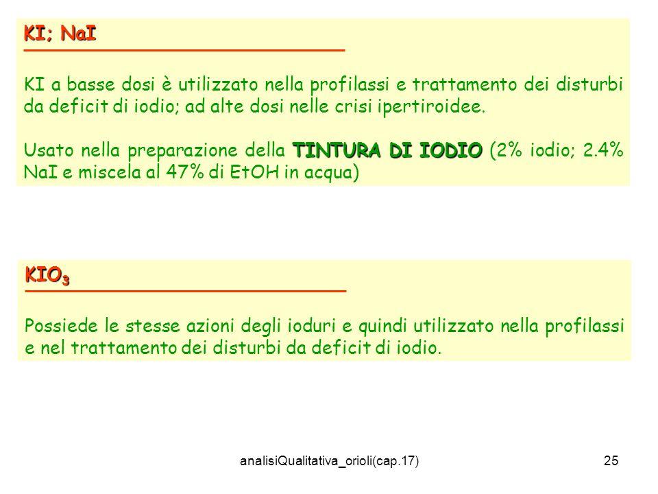 analisiQualitativa_orioli(cap.17)25 KI; NaI KI a basse dosi è utilizzato nella profilassi e trattamento dei disturbi da deficit di iodio; ad alte dosi nelle crisi ipertiroidee.