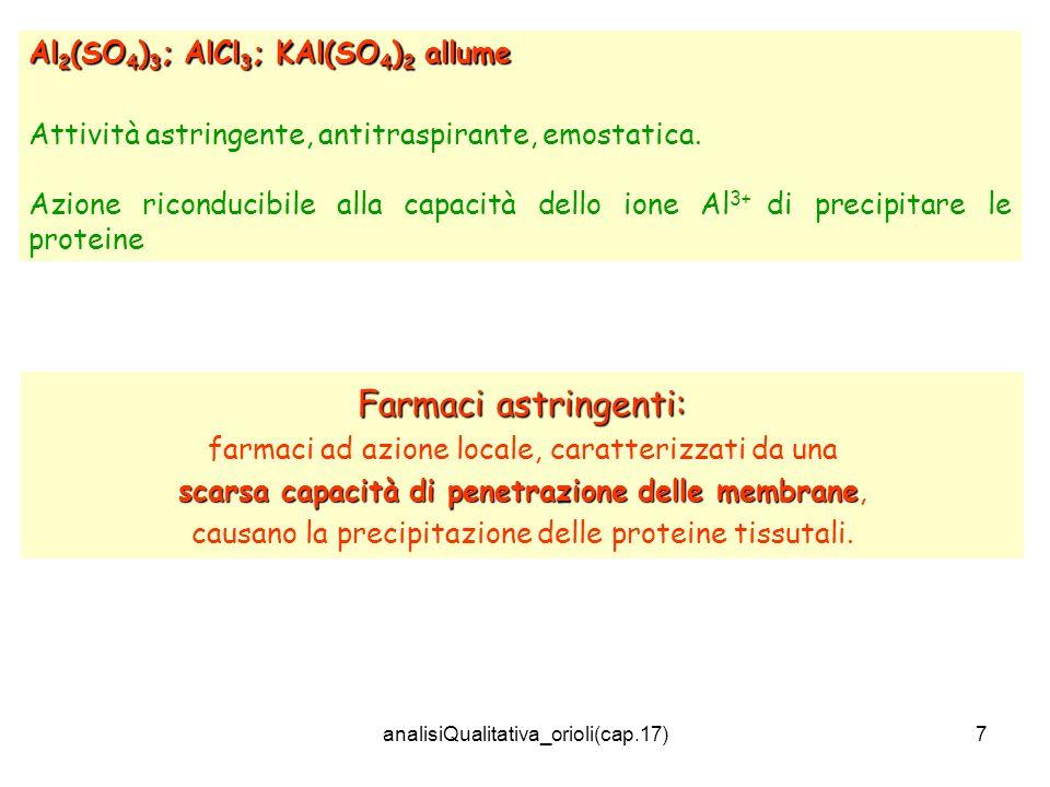 analisiQualitativa_orioli(cap.17)7 Al 2 (SO 4 ) 3 ; AlCl 3 ; KAl(SO 4 ) 2 allume Attività astringente, antitraspirante, emostatica. Azione riconducibi