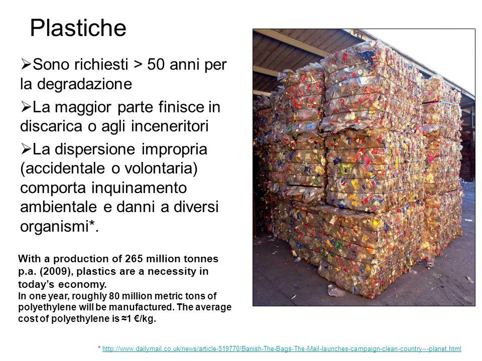 Sono richiesti > 50 anni per la degradazione La maggior parte finisce in discarica o agli inceneritori La dispersione impropria (accidentale o volonta