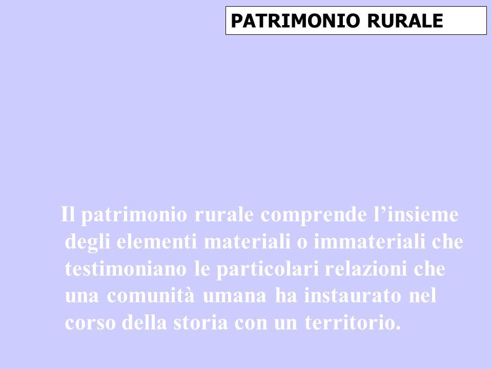 PATRIMONIO RURALE Il patrimonio rurale comprende linsieme degli elementi materiali o immateriali che testimoniano le particolari relazioni che una com