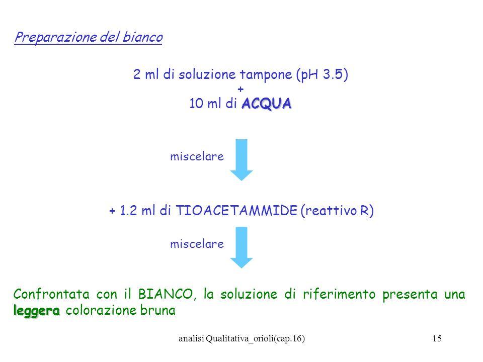 analisi Qualitativa_orioli(cap.16)15 Preparazione del bianco 2 ml di soluzione tampone (pH 3.5) + ACQUA 10 ml di ACQUA + 1.2 ml di TIOACETAMMIDE (reat