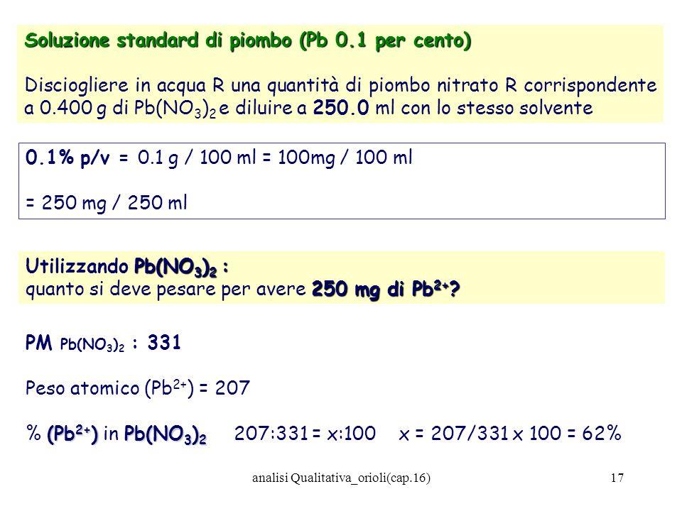analisi Qualitativa_orioli(cap.16)17 Soluzione standard di piombo (Pb 0.1 per cento) Disciogliere in acqua R una quantità di piombo nitrato R corrispo