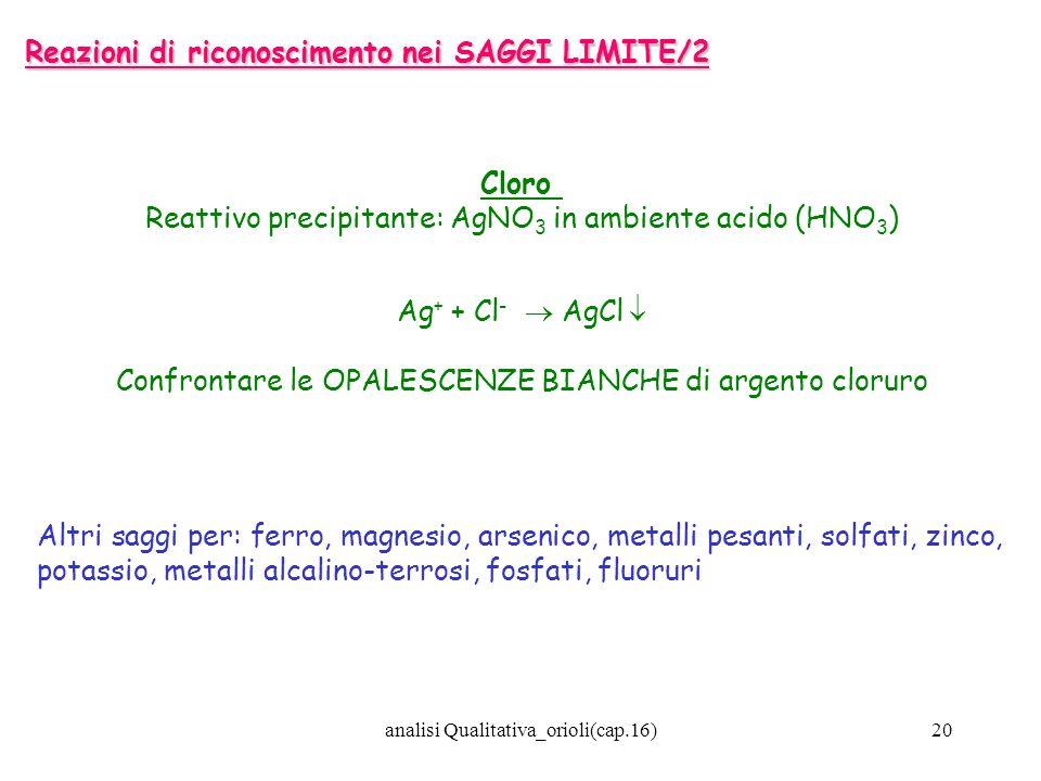 analisi Qualitativa_orioli(cap.16)20 Reazioni di riconoscimento nei SAGGI LIMITE/2 Cloro Reattivo precipitante: AgNO 3 in ambiente acido (HNO 3 ) Ag +