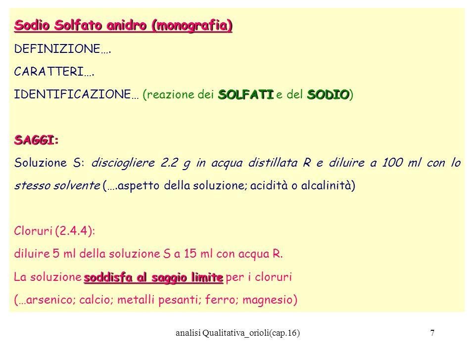 7 Sodio Solfato anidro (monografia) DEFINIZIONE…. CARATTERI…. SOLFATISODIO IDENTIFICAZIONE… (reazione dei SOLFATI e del SODIO)SAGGI: Soluzione S: disc