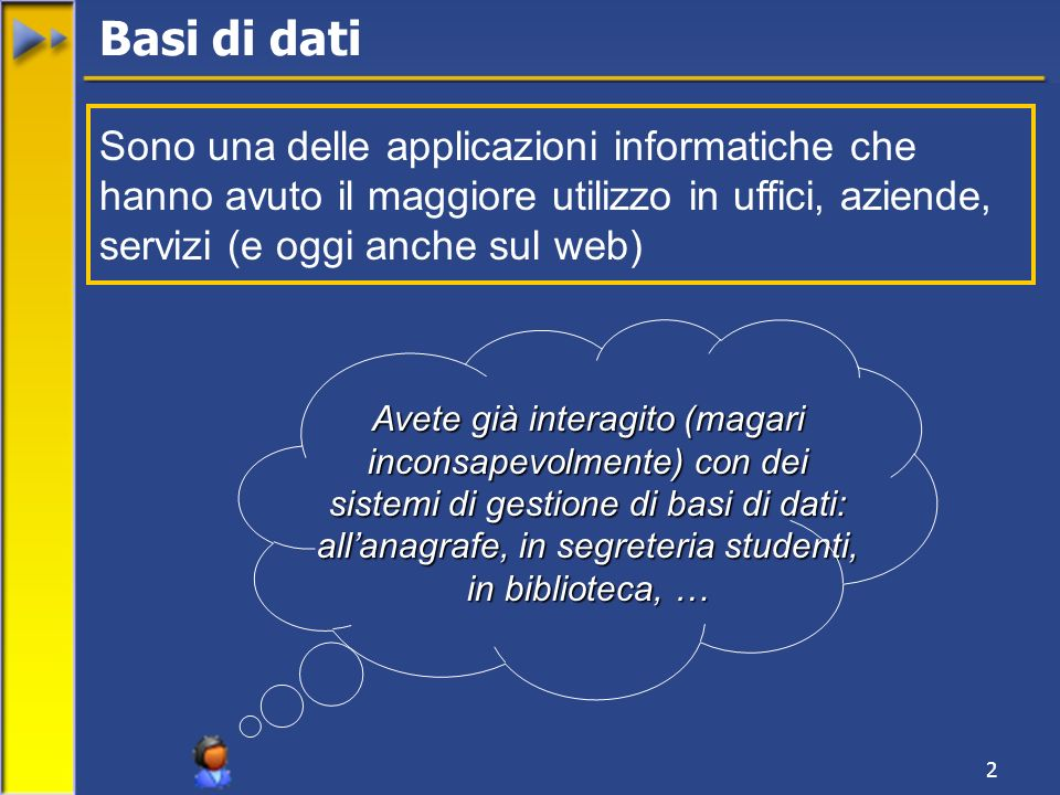 2 Sono una delle applicazioni informatiche che hanno avuto il maggiore utilizzo in uffici, aziende, servizi (e oggi anche sul web) Basi di dati Avete
