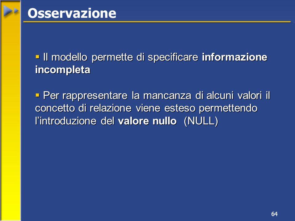 64 Osservazione Il modello permette di specificare informazione incompleta Il modello permette di specificare informazione incompleta Per rappresentar