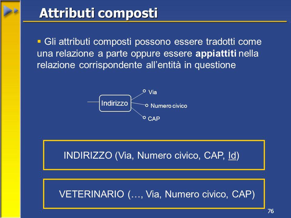 76 Gli attributi composti possono essere tradotti come una relazione a parte oppure essere appiattiti nella relazione corrispondente allentità in ques