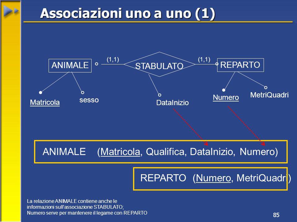 85 ANIMALE REPARTO Matricola sesso Numero MetriQuadri (1,1) ANIMALE (Matricola, Qualifica, DataInizio, Numero) STABULATO REPARTO (Numero, MetriQuadri)