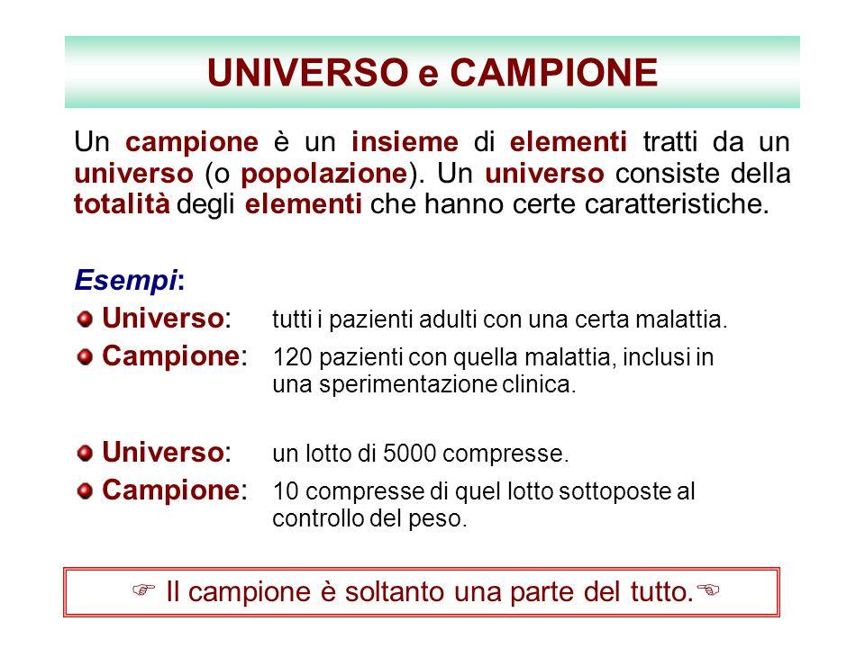 UNIVERSO e CAMPIONE Un campione è un insieme di elementi tratti da un universo (o popolazione). Un universo consiste della totalità degli elementi che
