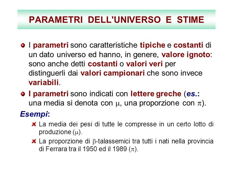 PARAMETRI DELL'UNIVERSO E STIME I parametri sono caratteristiche tipiche e costanti di un dato universo ed hanno, in genere, valore ignoto: sono anche