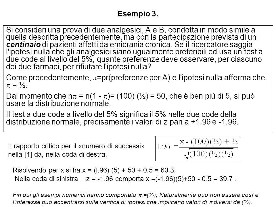 Esempio 3. Si consideri una prova di due analgesici, A e B, condotta in modo simile a quella descritta precedentemente, ma con la partecipazione previ