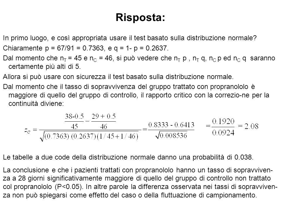 Risposta: In primo luogo, e così appropriata usare il test basato sulla distribuzione normale? Chiaramente p = 67/91 = 0.7363, e q = 1- p = 0.2637. Da