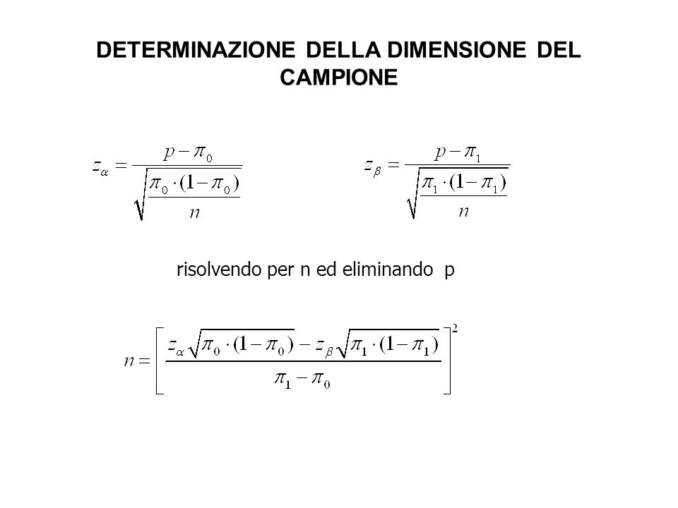CampioneGruppo sottoposto a trattamento Gruppo di controllo Totale POPOLAZIONE Proporzione di successi CAMPIONE Dimensione del campione Numero di successi Proporzione di successi =( + )/ ( + ) CONFRONTO DI PROPORZIONI = / + + / =