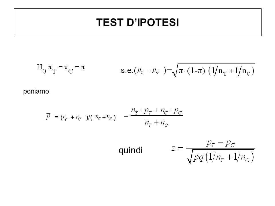 TEST DIPOTESI quindi s.e.( - ) poniamo = ( + )/( + )