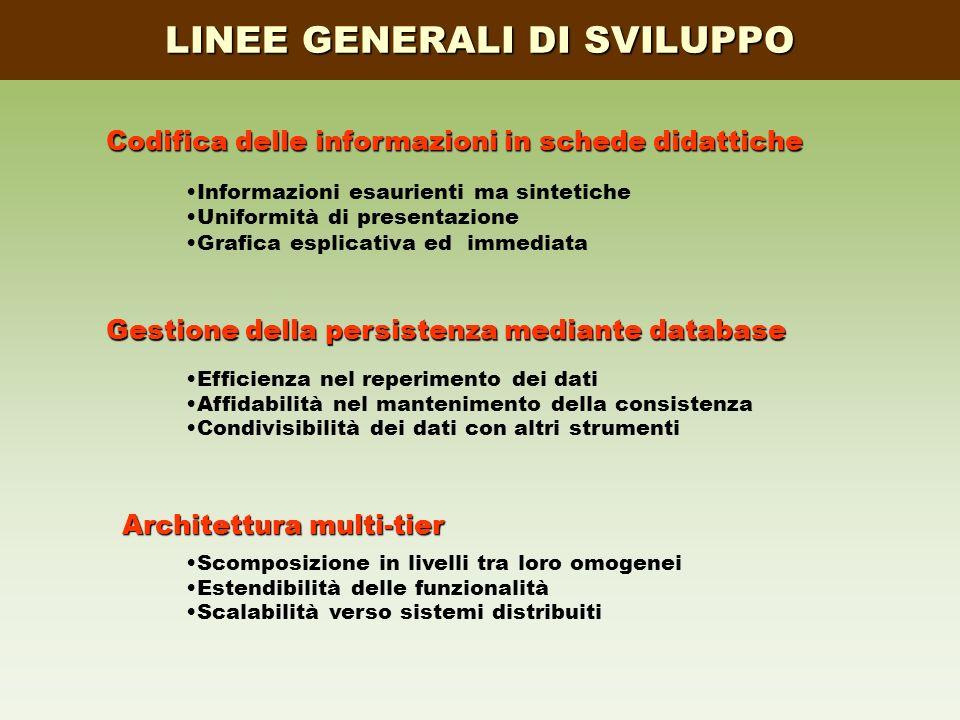 LINEE GENERALI DI SVILUPPO Codifica delle informazioni in schede didattiche Gestione della persistenza mediante database Architettura multi-tier Infor
