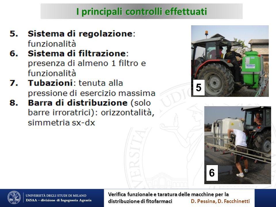 I principali controlli effettuati DiSAA – divisione di Ingegneria Agraria 5 6 Verifica funzionale e taratura delle macchine per la distribuzione di fi