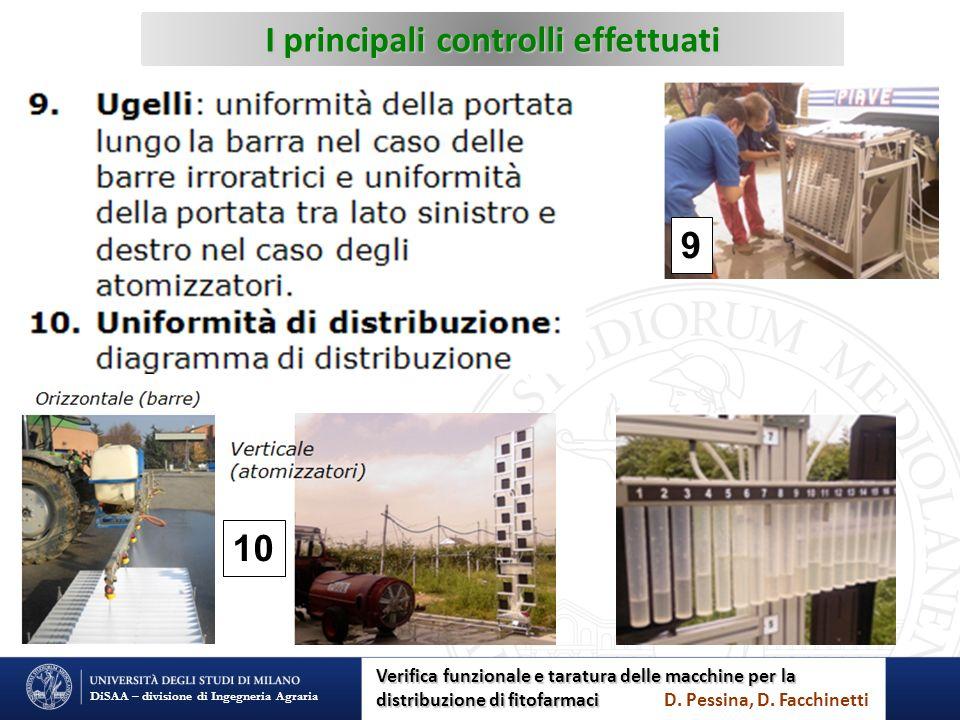 I principali controlli effettuati DiSAA – divisione di Ingegneria Agraria 10 9 Verifica funzionale e taratura delle macchine per la distribuzione di f