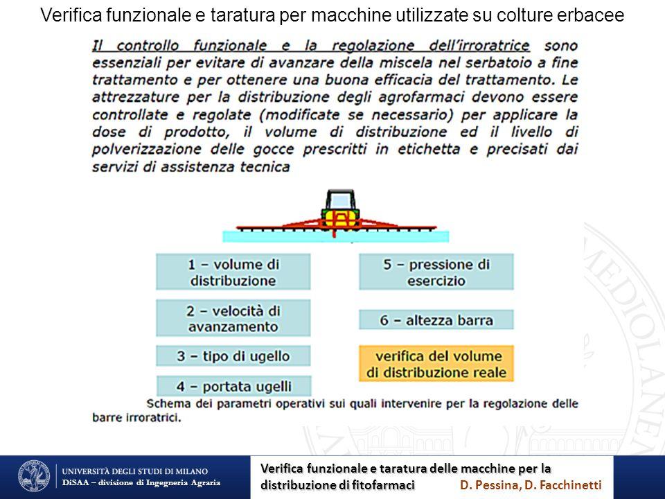 Verifica funzionale e taratura per macchine utilizzate su colture erbacee DiSAA – divisione di Ingegneria Agraria Verifica funzionale e taratura delle