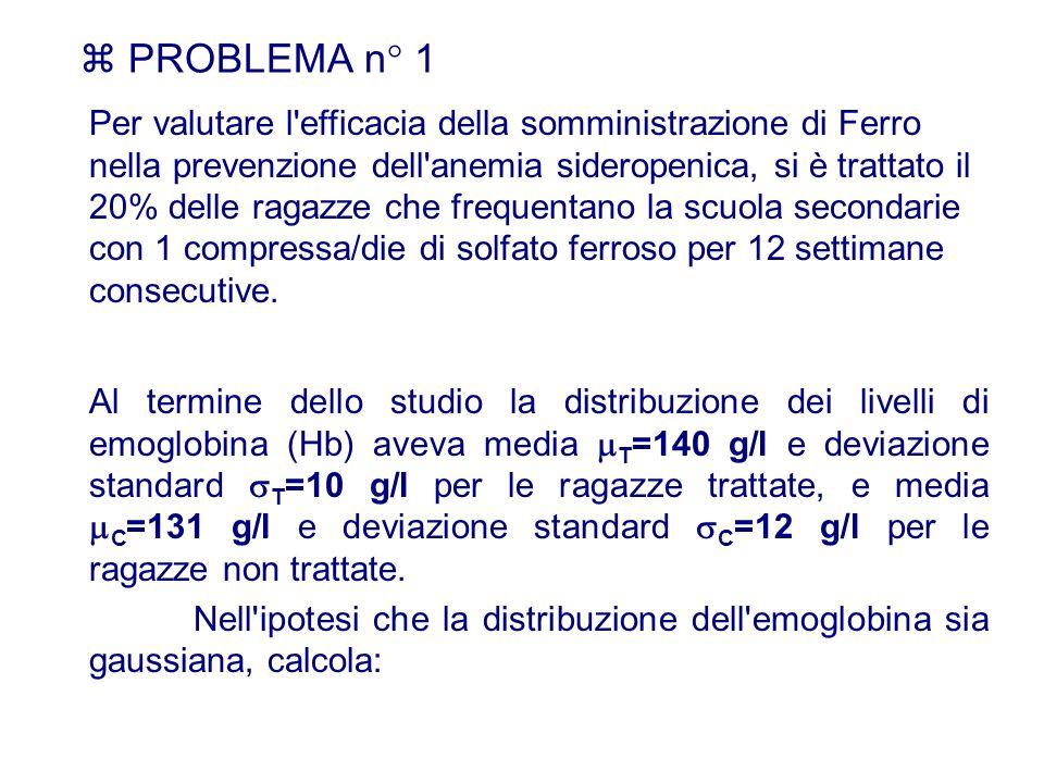 PROBLEMA n° 1 Al termine dello studio la distribuzione dei livelli di emoglobina (Hb) aveva media T =140 g/l e deviazione standard T =10 g/l per le ra