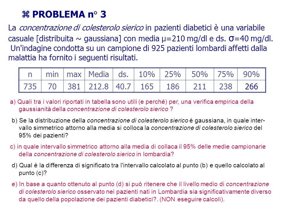 PROBLEMA n° 3 La concentrazione di colesterolo sierico in pazienti diabetici è una variabile casuale [distribuita ~ gaussiana] con media μ=210 mg/dl e