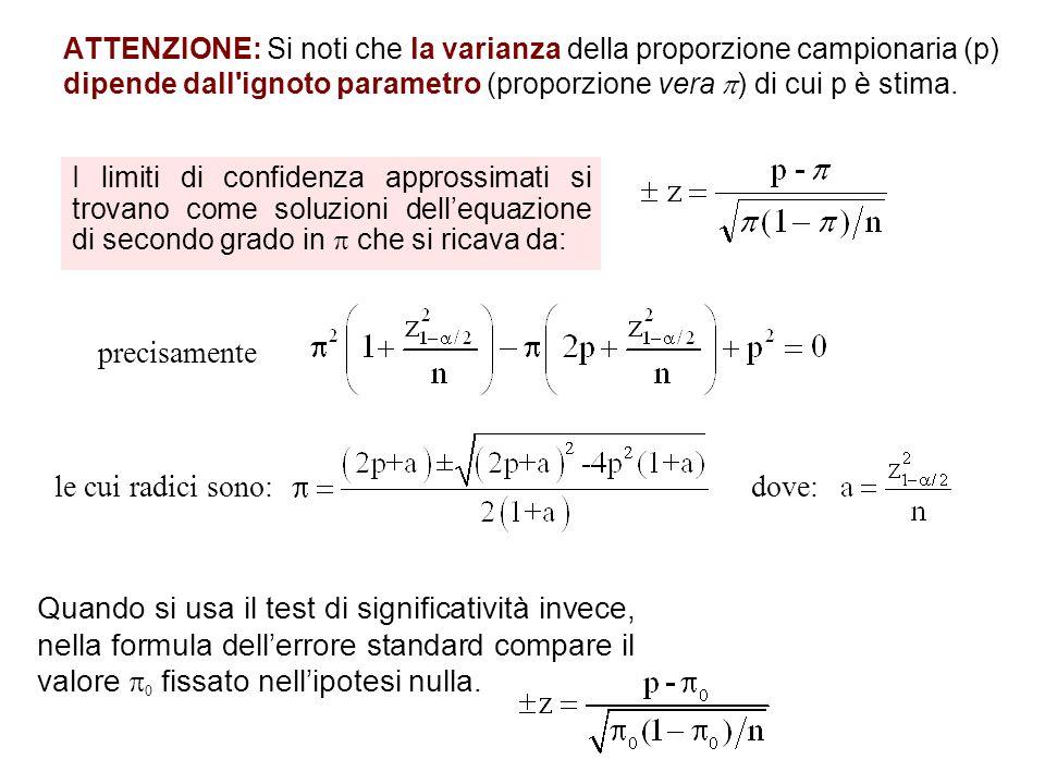 ATTENZIONE: Si noti che la varianza della proporzione campionaria (p) dipende dall'ignoto parametro (proporzione vera ) di cui p è stima. I limiti di