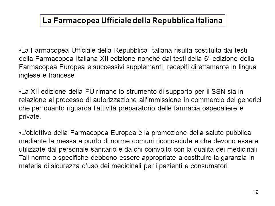 19 La Farmacopea Ufficiale della Repubblica Italiana La Farmacopea Ufficiale della Repubblica Italiana risulta costituita dai testi della Farmacopea I