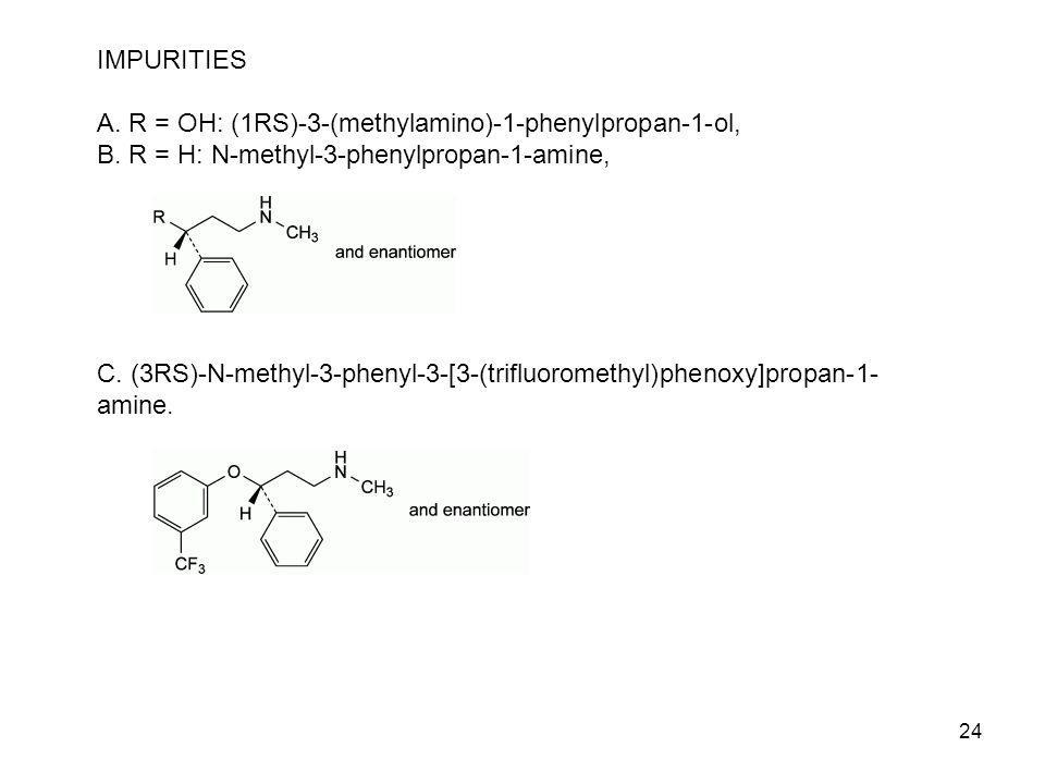 24 IMPURITIES A. R = OH: (1RS)-3-(methylamino)-1-phenylpropan-1-ol, B. R = H: N-methyl-3-phenylpropan-1-amine, C. (3RS)-N-methyl-3-phenyl-3-[3-(triflu