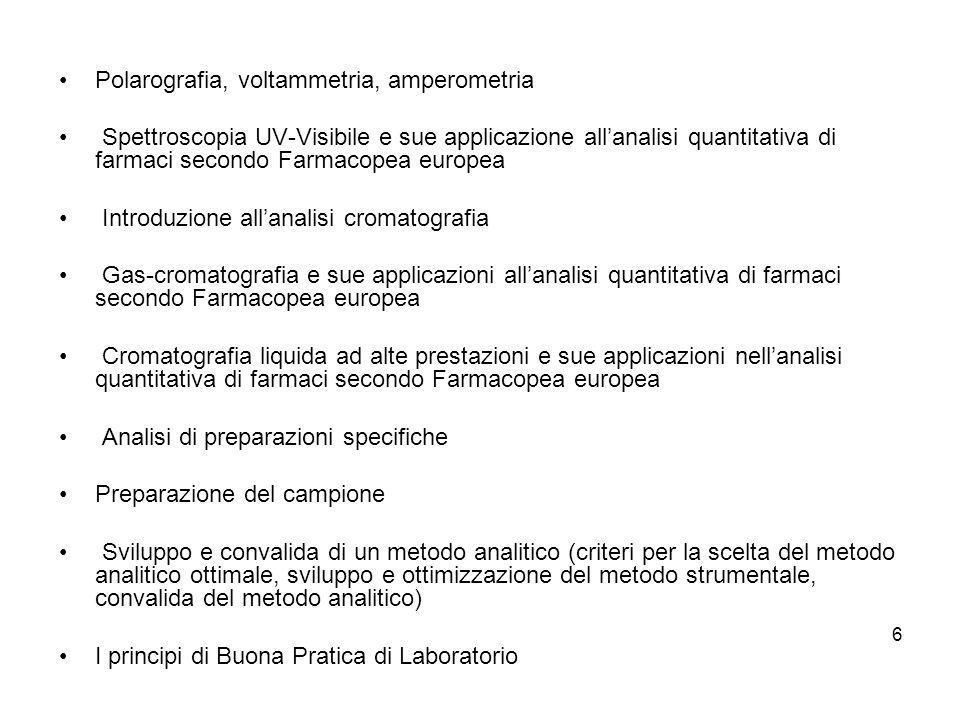 6 Polarografia, voltammetria, amperometria Spettroscopia UV-Visibile e sue applicazione allanalisi quantitativa di farmaci secondo Farmacopea europea