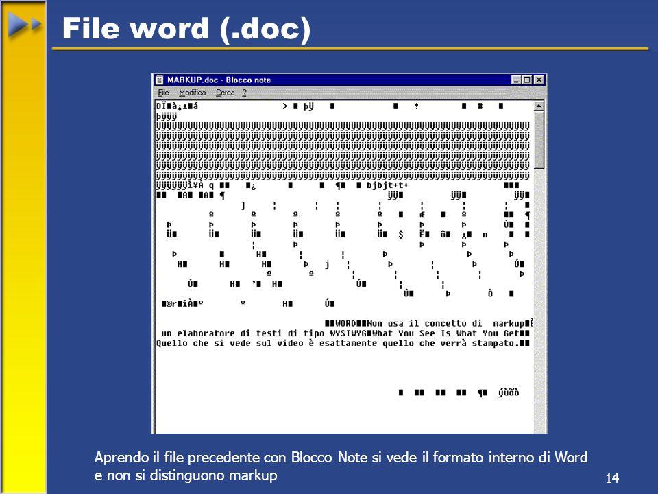 14 Aprendo il file precedente con Blocco Note si vede il formato interno di Word e non si distinguono markup File word (.doc)