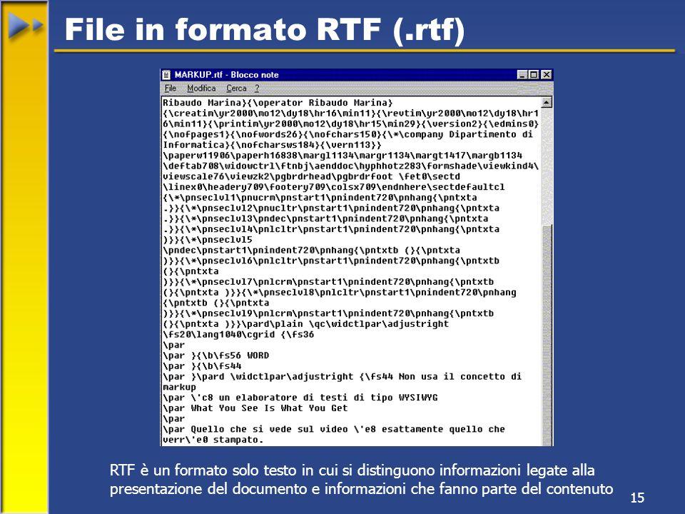 15 File in formato RTF (.rtf) RTF è un formato solo testo in cui si distinguono informazioni legate alla presentazione del documento e informazioni che fanno parte del contenuto