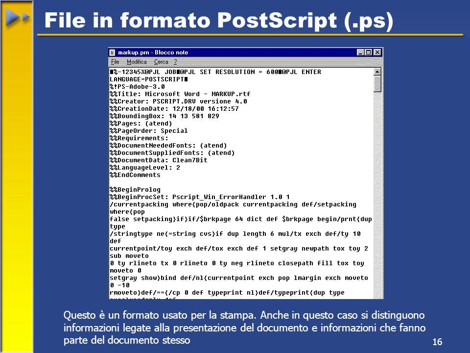 16 File in formato PostScript (.ps) Questo è un formato usato per la stampa.