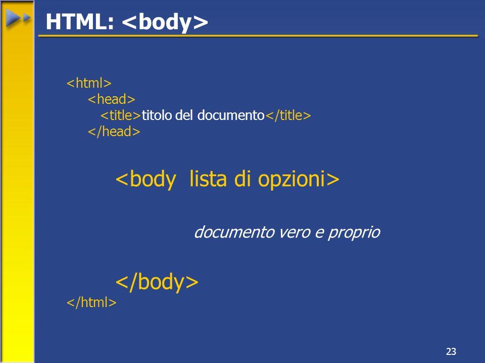 23 titolo del documento documento vero e proprio HTML: