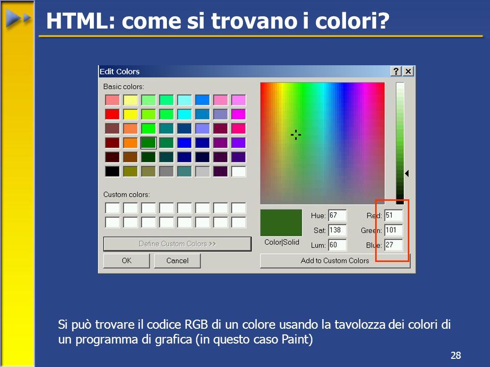 28 HTML: come si trovano i colori.