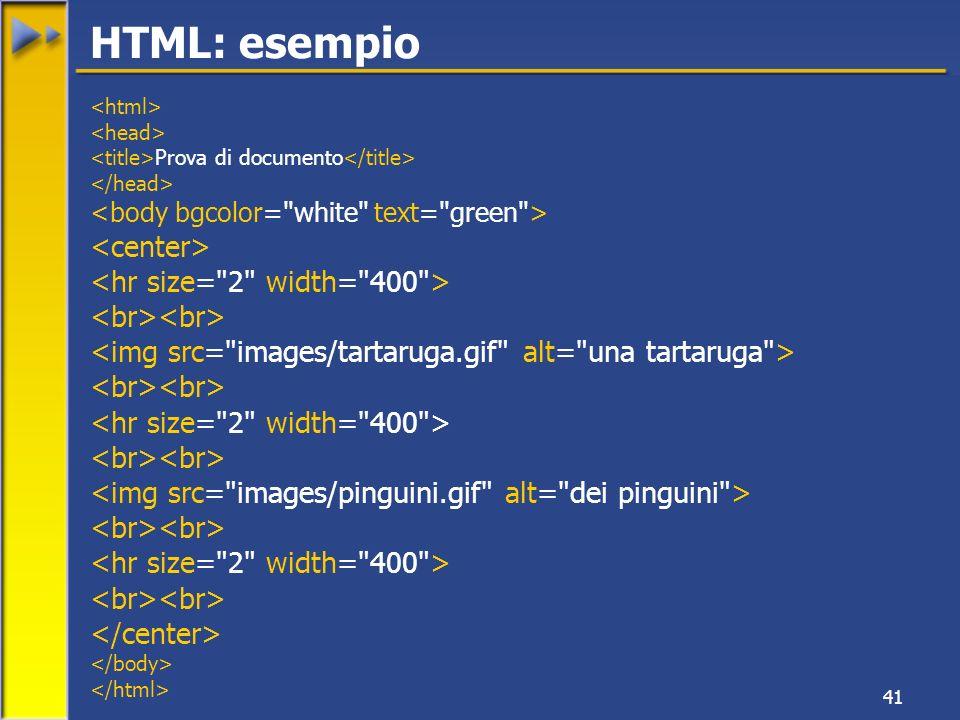 41 Prova di documento HTML: esempio