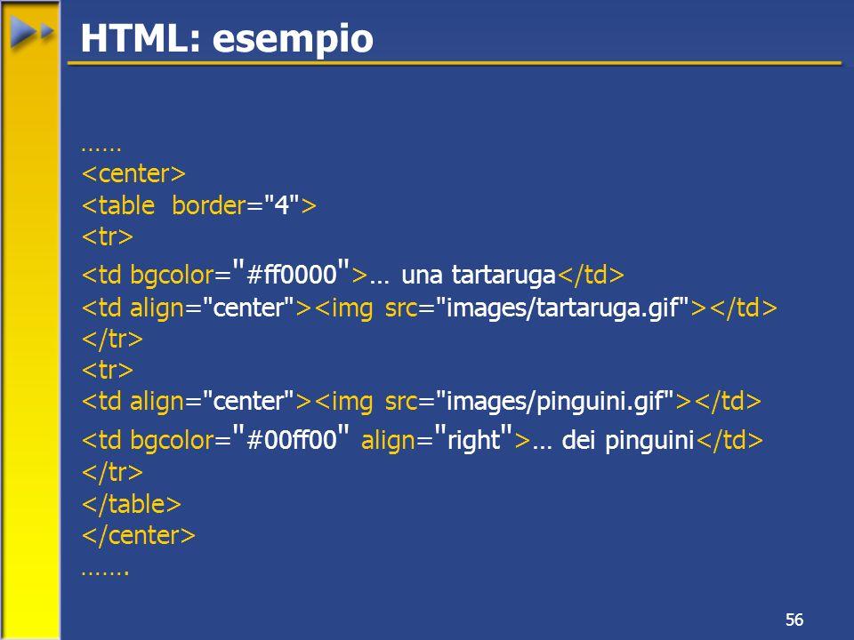56 …… … una tartaruga … dei pinguini ……. HTML: esempio