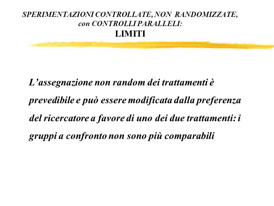 Lassegnazione non random dei trattamenti è prevedibile e può essere modificata dalla preferenza del ricercatore a favore di uno dei due trattamenti: i