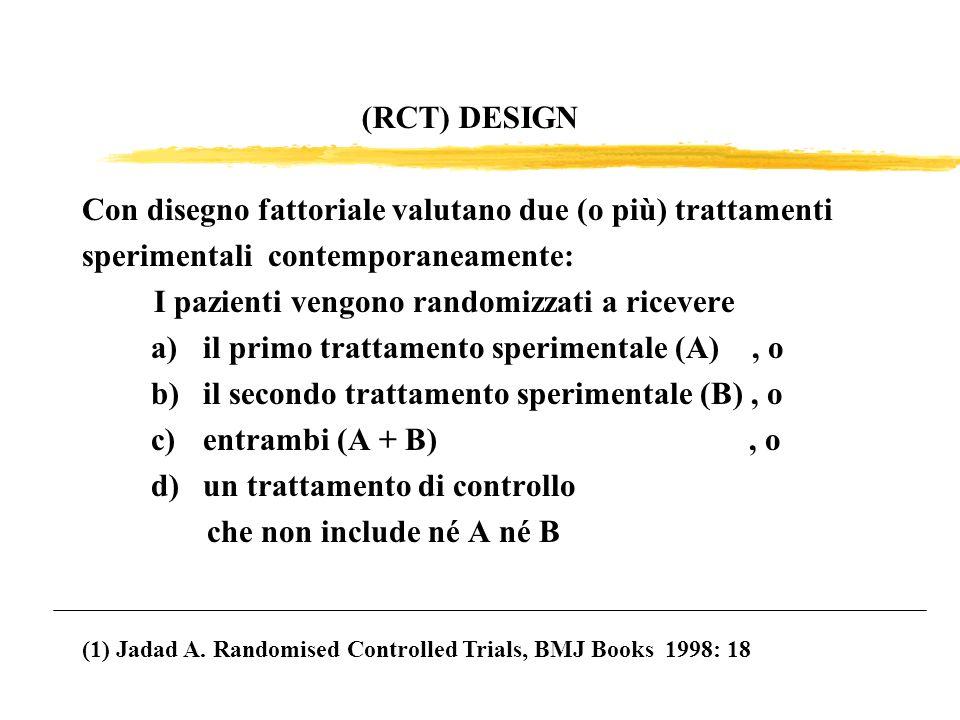 (RCT) DESIGN Con disegno fattoriale valutano due (o più) trattamenti sperimentali contemporaneamente: I pazienti vengono randomizzati a ricevere a)il