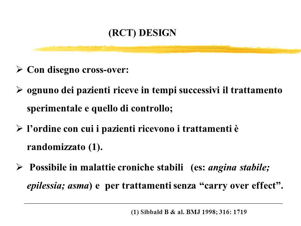 (RCT) DESIGN Con disegno cross-over: ognuno dei pazienti riceve in tempi successivi il trattamento sperimentale e quello di controllo; lordine con cui