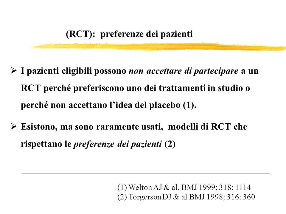 (RCT): preferenze dei pazienti I pazienti eligibili possono non accettare di partecipare a un RCT perché preferiscono uno dei trattamenti in studio o