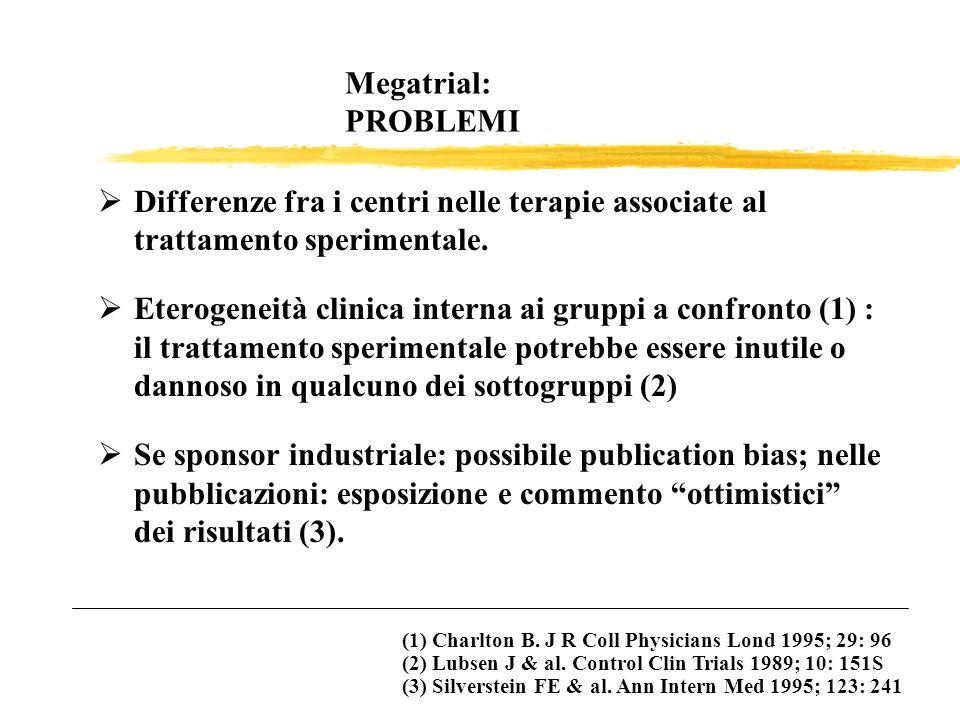 Megatrial: PROBLEMI Differenze fra i centri nelle terapie associate al trattamento sperimentale. Eterogeneità clinica interna ai gruppi a confronto (1