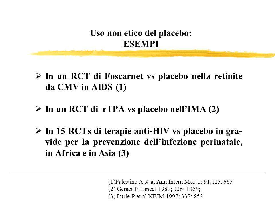 Uso non etico del placebo: ESEMPI In un RCT di Foscarnet vs placebo nella retinite da CMV in AIDS (1) In un RCT di rTPA vs placebo nellIMA (2) In 15 R