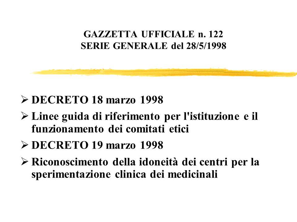 GAZZETTA UFFICIALE n. 122 SERIE GENERALE del 28/5/1998 DECRETO 18 marzo 1998 Linee guida di riferimento per l'istituzione e il funzionamento dei comit