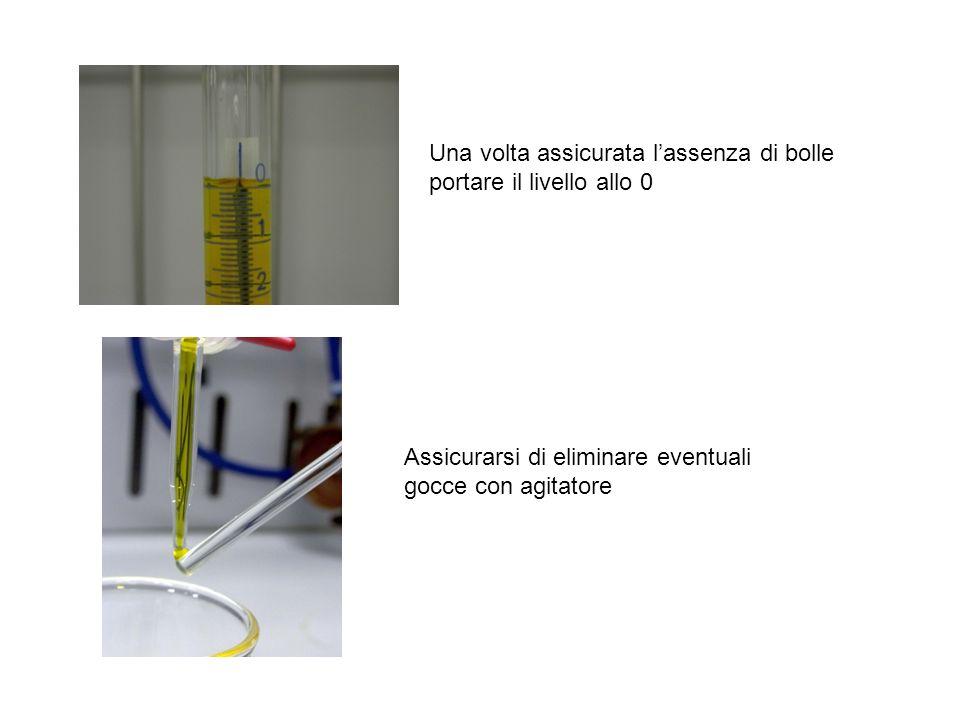 Una volta assicurata lassenza di bolle portare il livello allo 0 Assicurarsi di eliminare eventuali gocce con agitatore