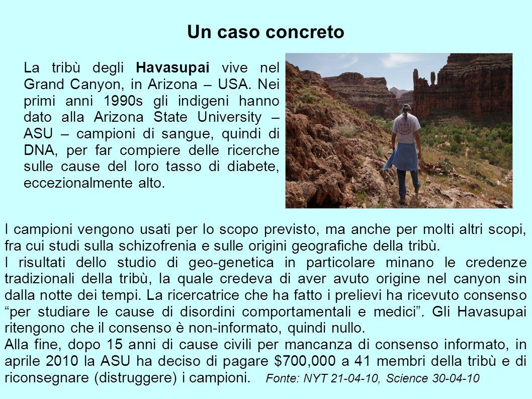 Un caso concreto La tribù degli Havasupai vive nel Grand Canyon, in Arizona – USA. Nei primi anni 1990s gli indigeni hanno dato alla Arizona State Uni