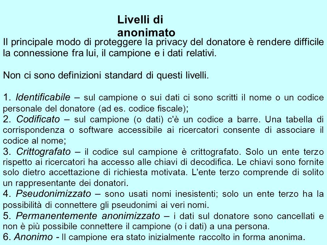 Livelli di anonimato Il principale modo di proteggere la privacy del donatore è rendere difficile la connessione fra lui, il campione e i dati relativ