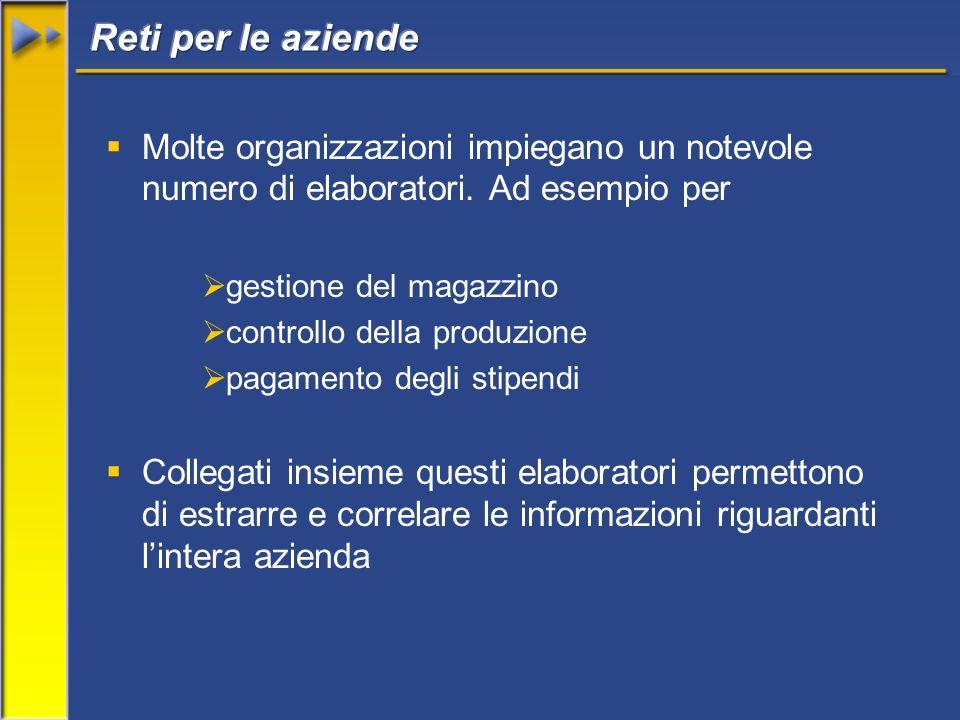 Molte organizzazioni impiegano un notevole numero di elaboratori. Ad esempio per gestione del magazzino controllo della produzione pagamento degli sti