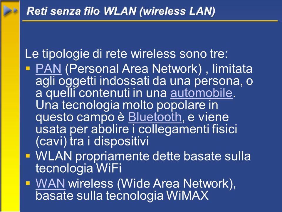 Le tipologie di rete wireless sono tre: PAN (Personal Area Network), limitata agli oggetti indossati da una persona, o a quelli contenuti in una autom