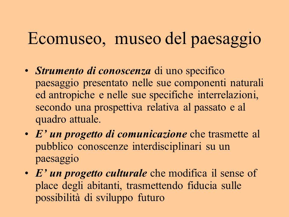 Ecomuseo, museo del paesaggio Strumento di conoscenza di uno specifico paesaggio presentato nelle sue componenti naturali ed antropiche e nelle sue sp